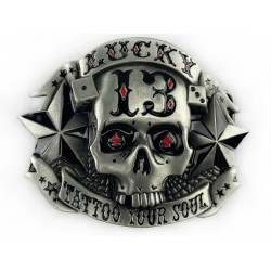 belt buckle lucky skull